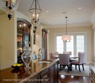 Open kitchen dining area in transitional modern luxury home interior design.