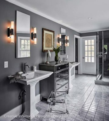 Modern bathroom design with grey porcelain floor tiles.