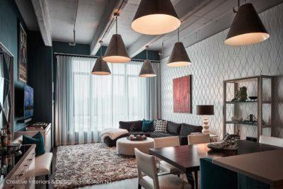 Industrial style pendant lighting in this urban modern loft in Hoboken NJ.