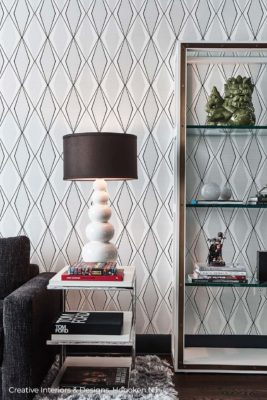 Mid Century Modern style bubble lamp against black and white geometric wallpaper.