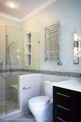 Modern bathroom remodel shower tiling.