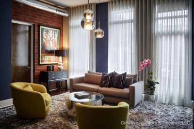 Mid Century Modern pendant lighting and thick shag rug in Urban Modern living room.