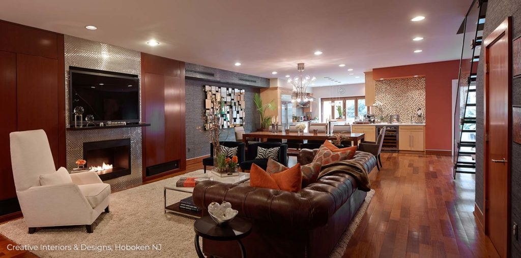 Wood feature wall in living room adds warmth and color in this luxury apartment.